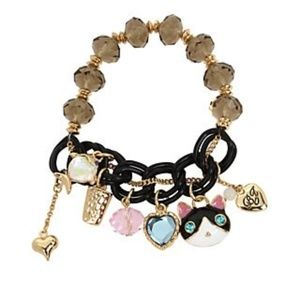 BetseyJohnson Gold-Tone Cat & Fish Bracelet.New!